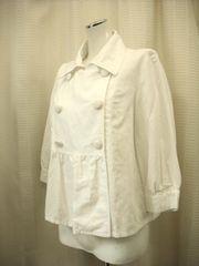 【earthmusic&ecology】白7分袖の麻入りジャケットです