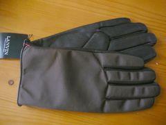 ランバン裏地カシミヤ100%羊革手袋24ブラウン甲ナイロン