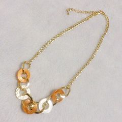 オレンジとゴールド色チェーンネックレス*新品未使用