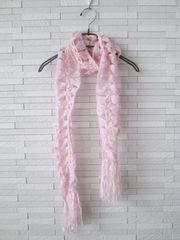 即決/リボンニットロングマフラー/ピンク