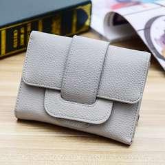 1円新品☆ふわふわ手触り三つ折りレディース財布グレー灰色レディース