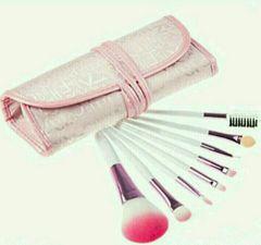 化粧ブラシセット 筆8本 ピンク化粧ポーチ