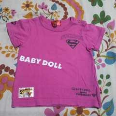 キッズBABY DOLL/ベビードールピンク ロゴ Tシャツ 80�p