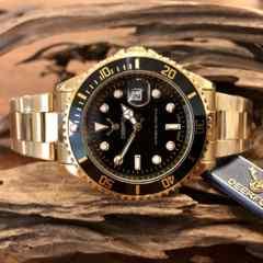 最安値!ロレックス・サブマリーナタイプ◇クォーツ メタル腕時計・ブラック×ゴールド