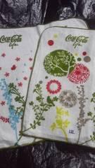 コカ・コーラ コカコーラ LIFE ライフ 限定 タオル ハンカチ 2種類 デザイン ホワイト グリーン