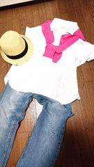 大きいサイズ☆しまむらCLOSSHIフレンチリネンのスキッパーシャツ*LL