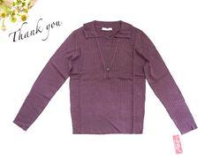 新品 GIVORS 襟付き 長袖 ニット セーター 5L 19号  紫