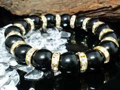 天然オニキス12ミリ金ロンデル黒瑪瑙数珠