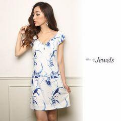 M ドレスワンピース Jewels ホワイト×ブルー 新品 J16184