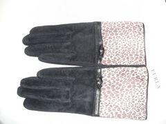 フルラ スェード豚皮革手袋黒Mサイズ