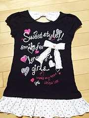 激可愛☆裾フリルTシャツチュニック♪140 ブラック 美品 半袖
