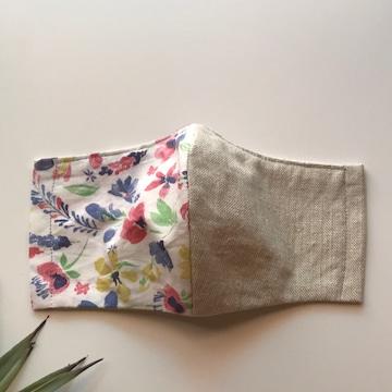 インナーマスク立体型★リネン&お花柄★ハンドメイド