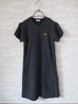 即決/COMME CA DU MODE/半袖スウェットラインワンピース/黒/160A