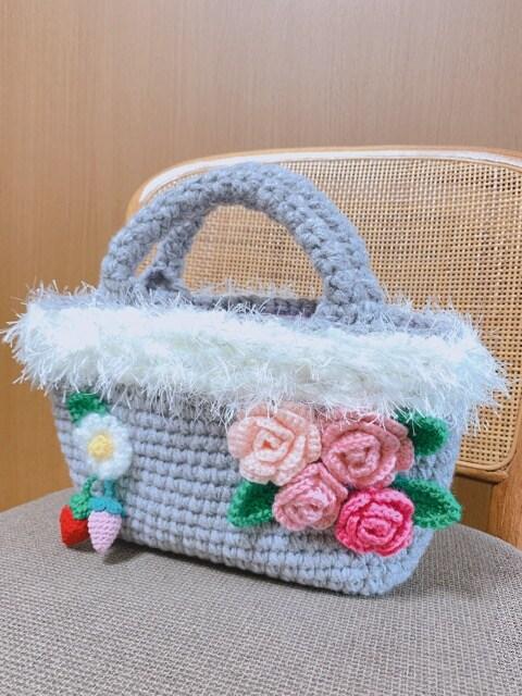 手編み 薔薇&苺&マーガレット☆ファーバッグ handmade