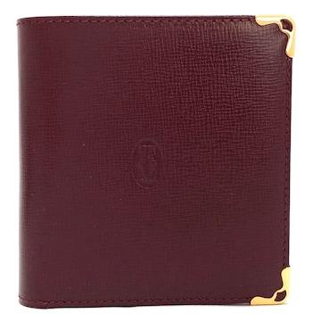 未使用正規カルティエ二つ折り財布ボルドー型押しレザー2C