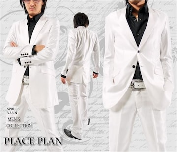 【Place plan】ロング丈シャンブレースーツ■ホワイトM
