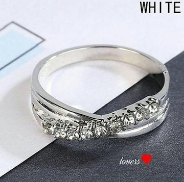 送料無料17号クロムシルバークリアスーパーCZダイヤリング指輪