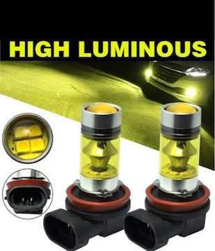 H11 H16 兼用 LED フォグランプ イエロー