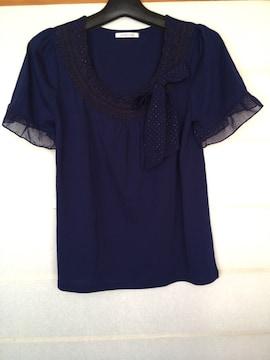 axes femme 紺色 半袖 リボン付き カットソー M N2m