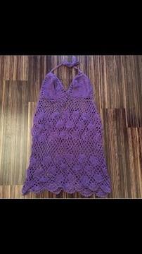 パープル かぎ編み