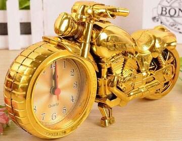 バイク ハーレー風 目覚まし時計 (ゴールド)