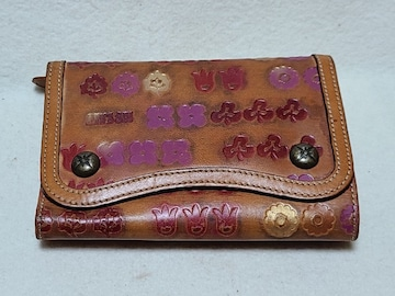 送料無料/ANNA SUIアナスイ花柄2つ折りレザー財布