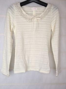 LIZ LISA 長袖 ナチュラルニット 薄手セーター オフホワイト N2m