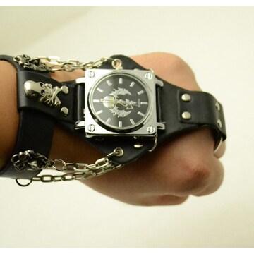 コスプレ チェーン 手の甲 腕時計 ウケ狙い スカルヘッド