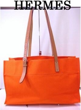 送料無料 HERMES キャンバス トートバッグ エトリヴィエール エラン オレンジ★dot