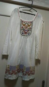 エスニック刺繍柄シャツブラウスコットンワンピースチュニック白