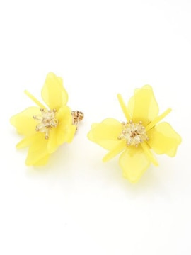 美人百花!定価4,212円【新品】立体3Dフラワーイヤリング 黄色