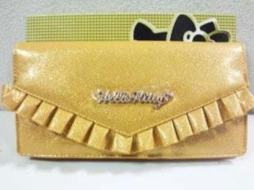 ■Hello  Kitty/ハローキティ*ゴールドフリルデコワレット☆長財布■