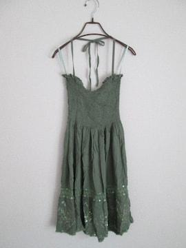 即決/Hawaiian Fashion/アジアン刺繍ベアホルターワンピース/緑
