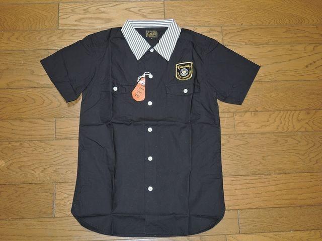 新品CALEEキャリーボーリングシャツS黒半袖刺繍ステッチ < ブランドの