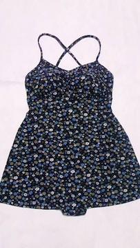 フラワー小花柄クロスキャミソールフレアタンキニチュニックトップスショーツ一体型ワンピース水着青