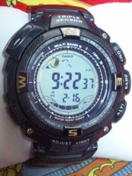 カシオプロトレック電波ソーラー腕時計PRW-1500YTJブラック定88000円