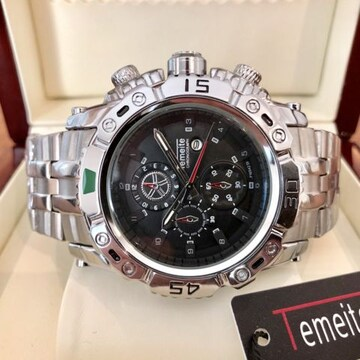 大特価!ビッグフェイスでラグジュアリーなメンズ腕時計★ブラック×シルバー