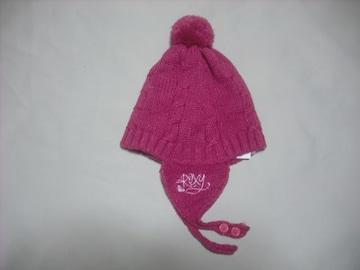 wb514 ROXY ロキシー 耳当て ボンボン付き ニット帽 ピンク