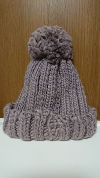 ニット帽*ざっくり編み*グレー*ポンポン