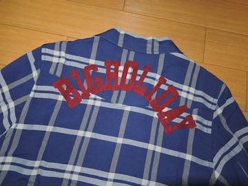 新品TMT背ロゴ開襟チェックシャツM紺刺繍ステッチBIG HOLIDAY