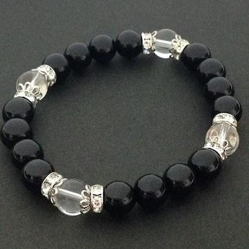 オニキス&水晶レディースブレスレットサ新作数珠