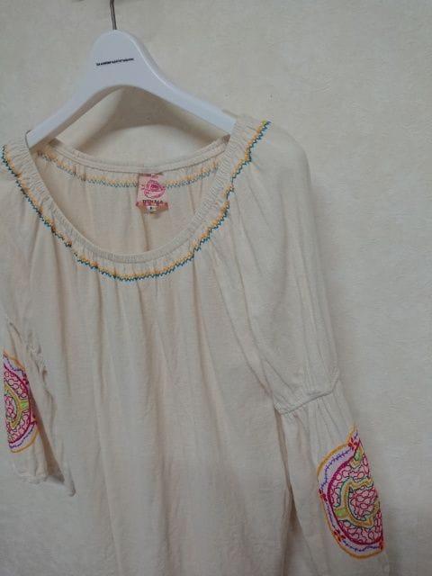 チチカカ/titicaca 刺繍8分袖カットソー フリー  < ブランドの