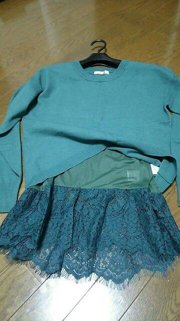 バナーバレット 裾レースキャミ付 ニットプルオーバー 新品タグ付