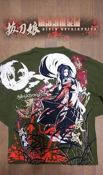 セール 新品 [ 抜刀娘 ]風神の凛 長袖 Tシャツ スカジャン 好きにも