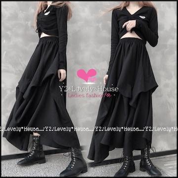 【〜W95】〜4L*ドレープ風不規則ロングスカート*黒