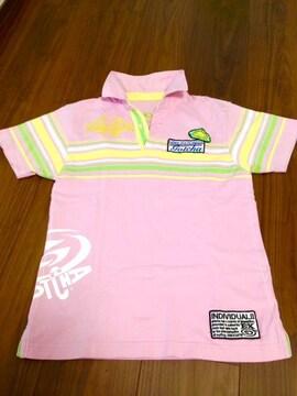 GOTCHA ガッチャ ロゴ刺繍ポロシャツ ピンク 男女兼用