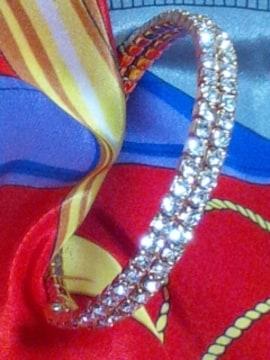 ラインストーンゴールドブレスレットスワロフスキーダイヤ超キラキラ