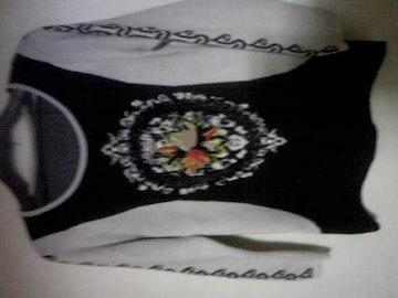 お洒落ニットセーター/刺繍とパール/M/黒×アイボリー