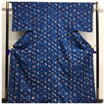 本藍染め 総絞り 伊勢丹謹製 大サイズ 裄64 身丈167 高級呉服