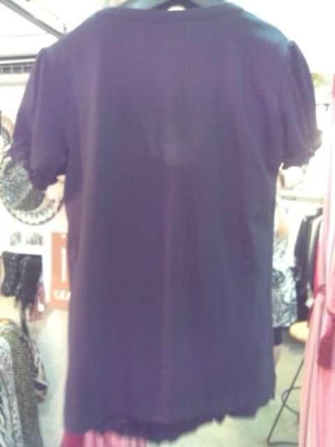 黒キャミフリル&パフスリーブカーデアンサンブル国産M < 女性ファッションの